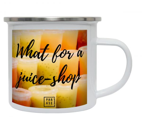 What for a juice-shop   Emaille Becher